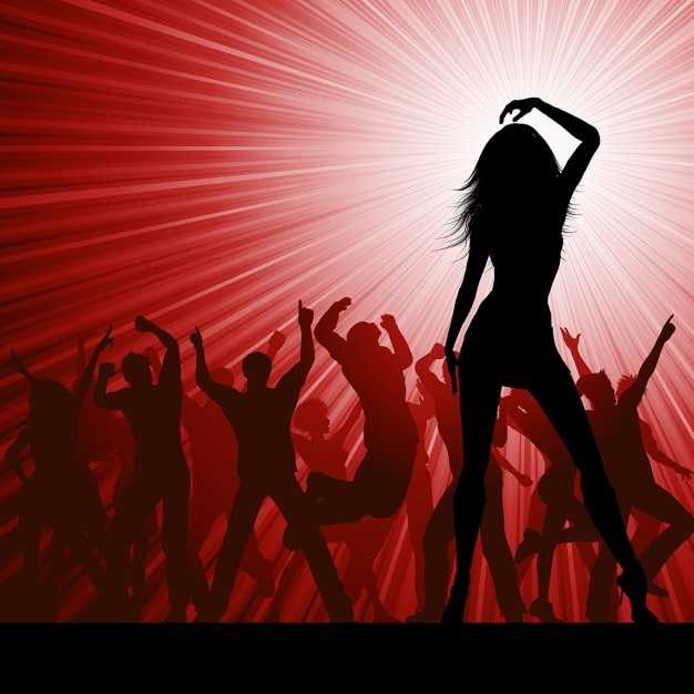 Silhouettes of people dancing on red\ background