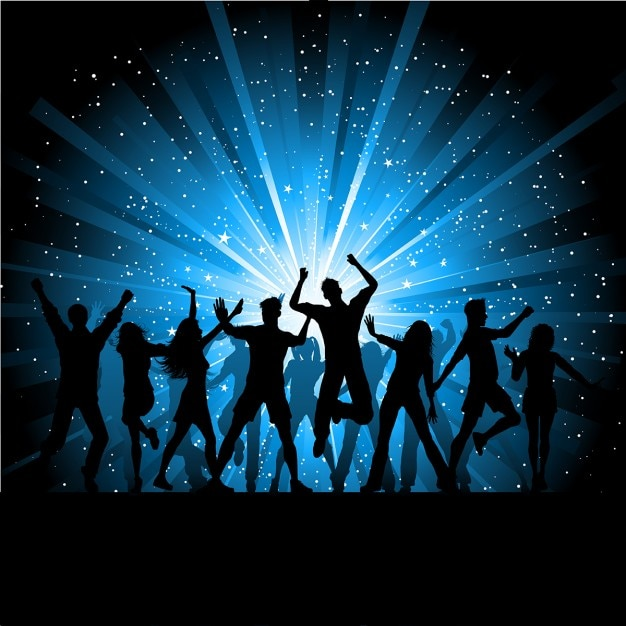 Silhouettes of people dancing on starry\ background