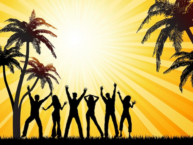 Silhouettes of people dancing on summer\ background