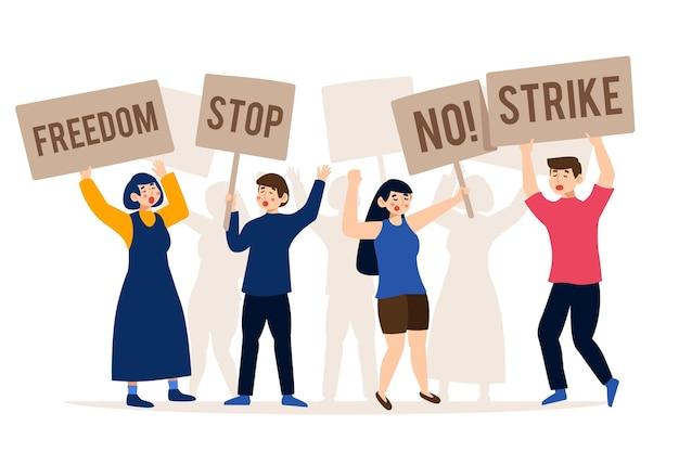 Силуэты людей, протестующих в толпе Бесплатные векторы