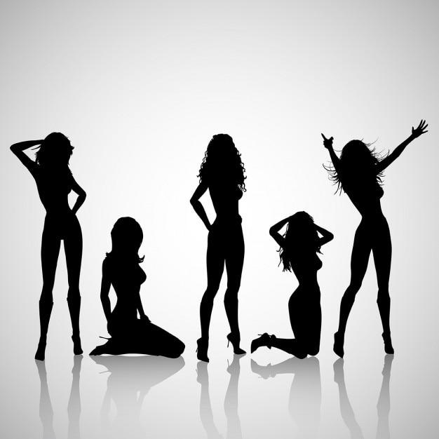 Силуэты сексуальных женщин Бесплатные векторы