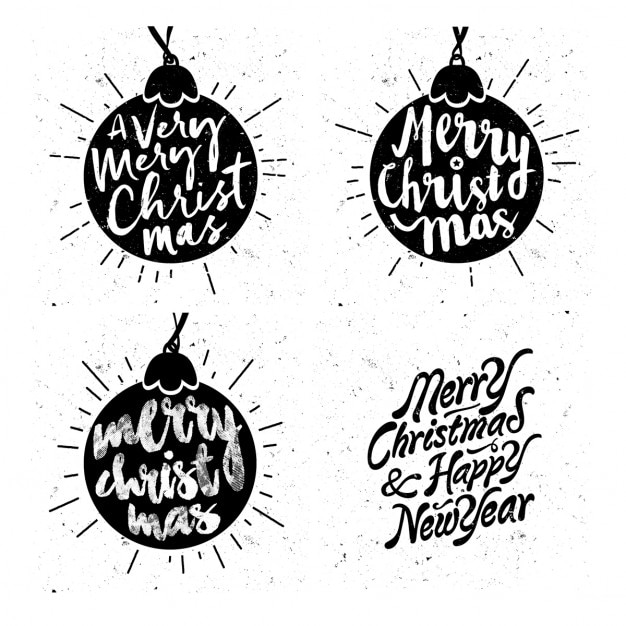 Silhouettes of vintage christmas balls with messages Free Vector
