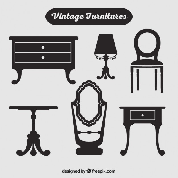 Silhouettes Of Vintage Furniture Vector Free Download
