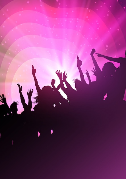 Silhouettes of party crowd Free Vector