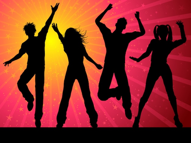 Silhouettes of people dancing on starry background Free Vector