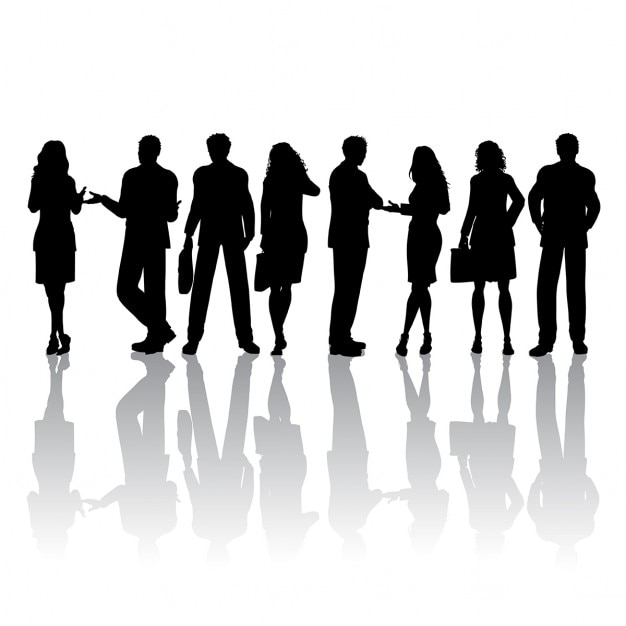 Silhouettes of people talking Free Vector