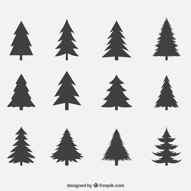 Silhouettes of pines pack Premium Vector