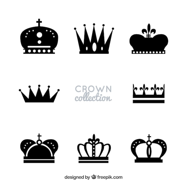 Silhouettes of royalty crowns Free Vector