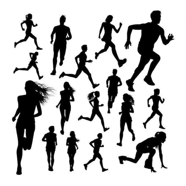 Silhouettes of runner Premium Vector