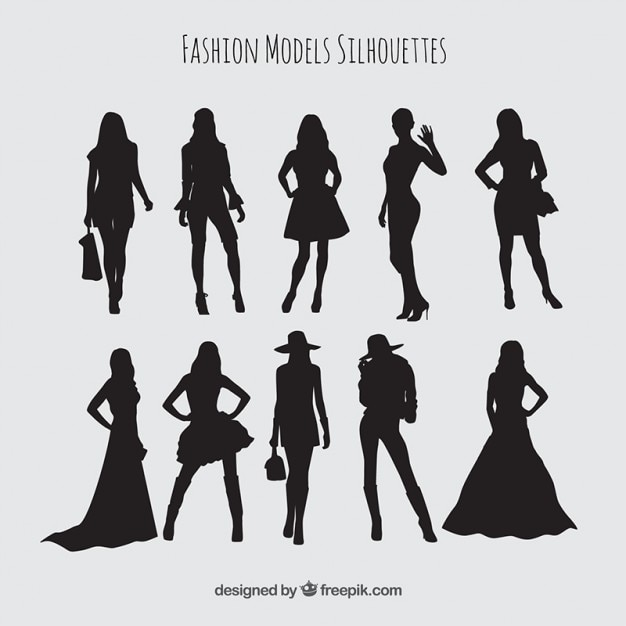 Silhouettes set of models wearing stylish clothes Free Vector