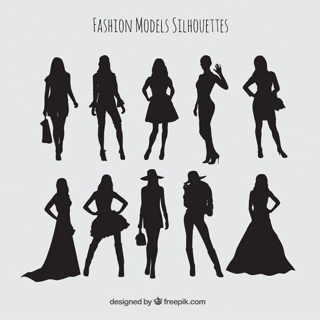 Silhouettes set of models wearing stylish clothes Premium Vector