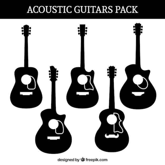 silhouettes set of acoustic guitars vector