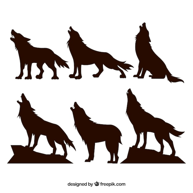 Silhouettes set of wolves howling Free Vector