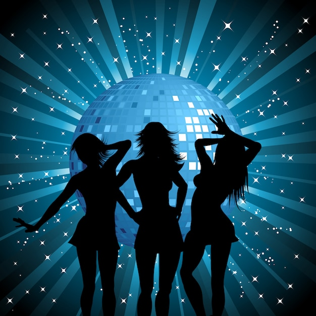 Silhouettes of sexy females on mirror ball background Free Vector