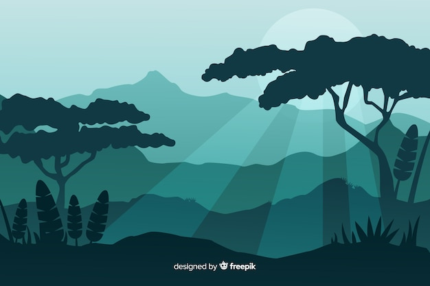 Silhouettes of tropical forest trees at sundown Free Vector