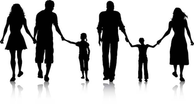 Silhouettes of two families walking Free Vector