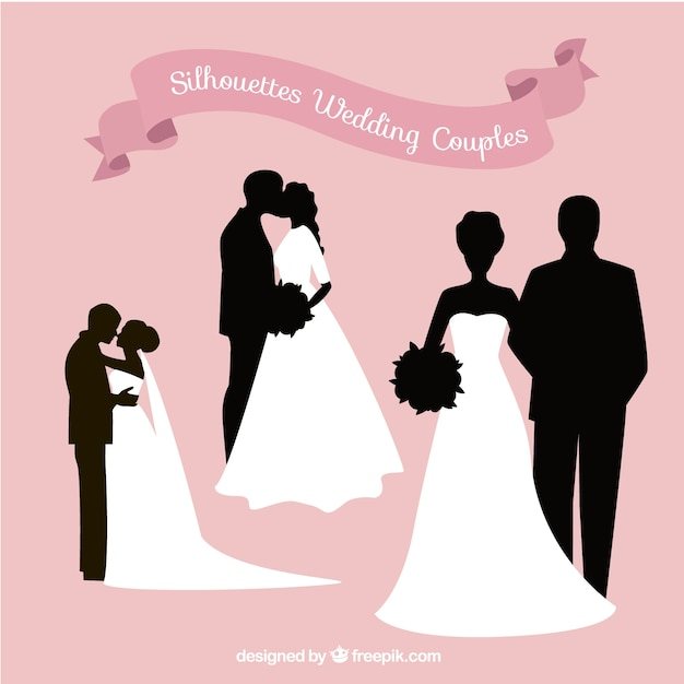 Silhouettes of wedding couples Free Vector