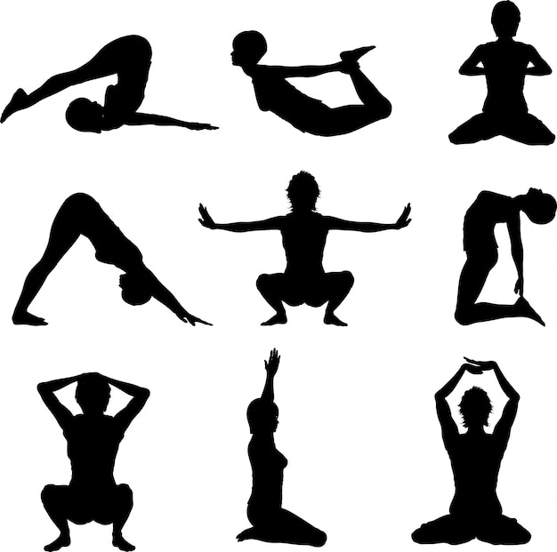 Silhouettes of women in various yoga poses Free Vector