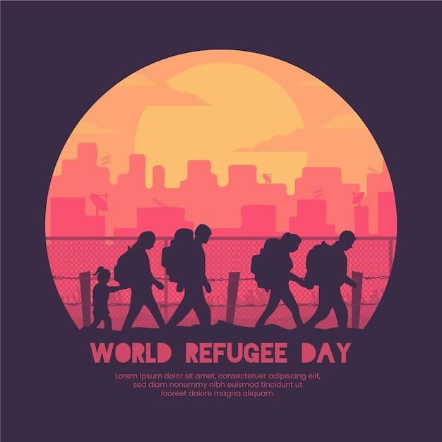 シルエット世界難民の日イベント 無料ベクター