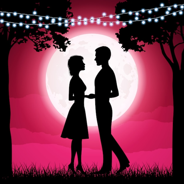 Silhouettes of young woman and man on the moon background Premium Vector