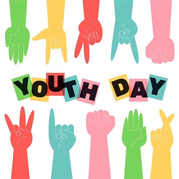 Silhouettes youth day concept Free Vector