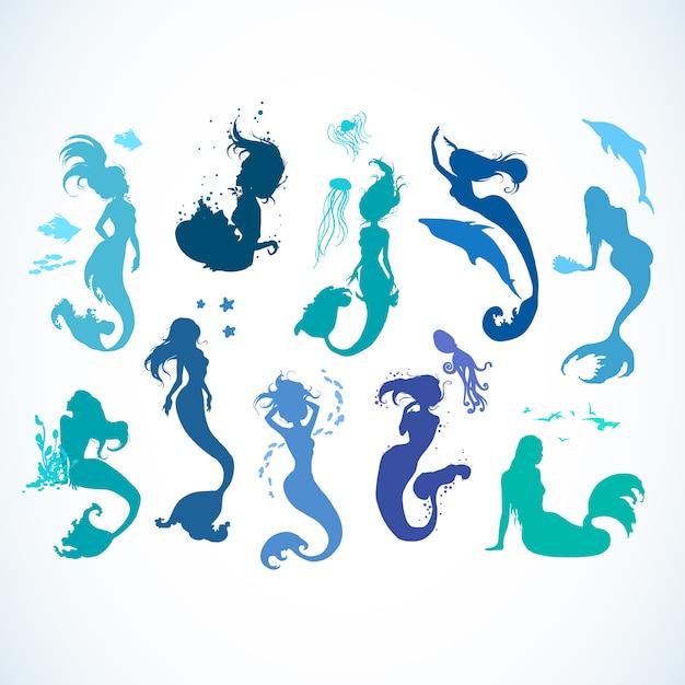 Коллекция silhoutte mermaid Premium векторы