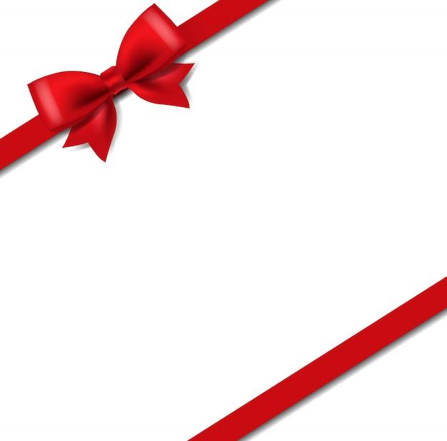 Шелк красная лента изолировать на белом Premium векторы