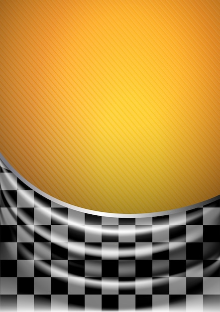 Silk tissue in checkered on a yellow background Premium Vector