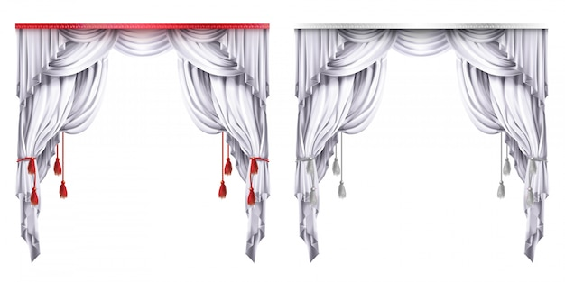 Silk, velvet drapes with red or white tassels. theatrical curtain with folds. Free Vector