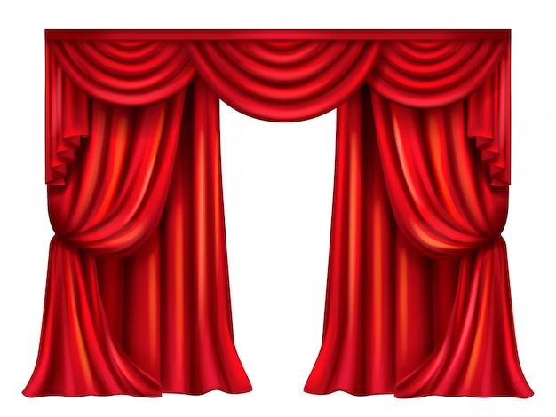 Silk, velvet theatrical curtain with folds isolated on white background. Free Vector