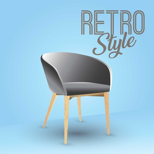 Silla antigua de moda Premium Vector