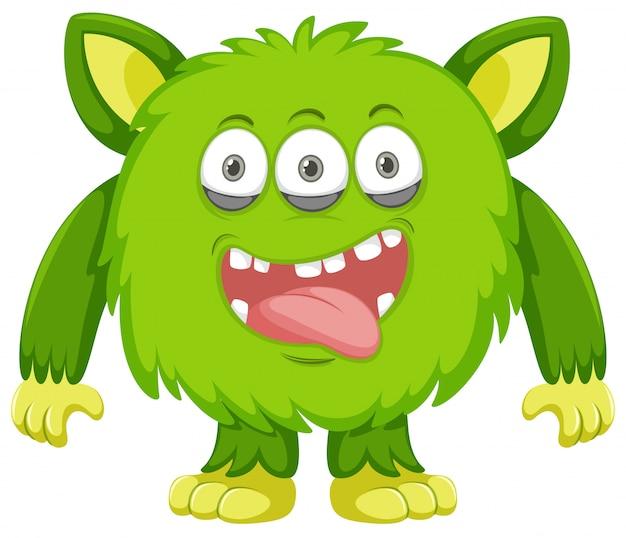 Silly green monster white background Premium Vector