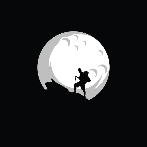 Siluet climber logo design Premium Vector