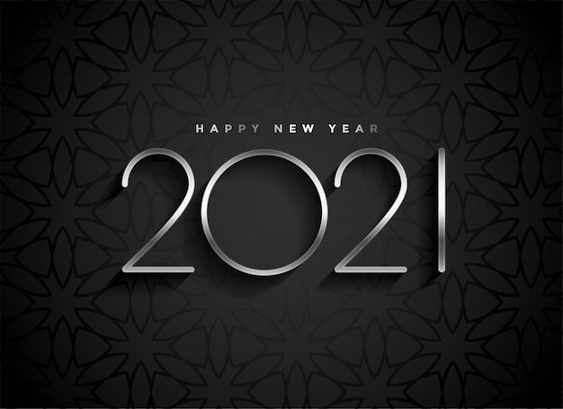 Silver 2021 new year text on black background Free Vector