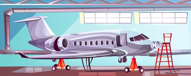 Silver aircraft in mechanic garage Free Vector