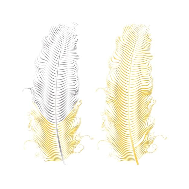 Серебряный и золотой блеск перьев. элементы стиля бохо, шаблон татуировки. Premium векторы