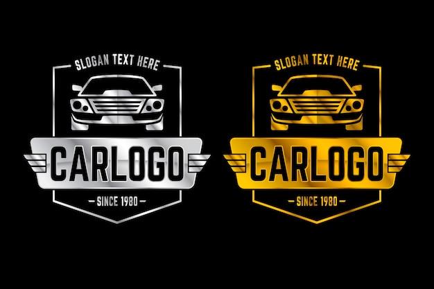 シルバーとゴールドのメタリック車のロゴ 無料ベクター