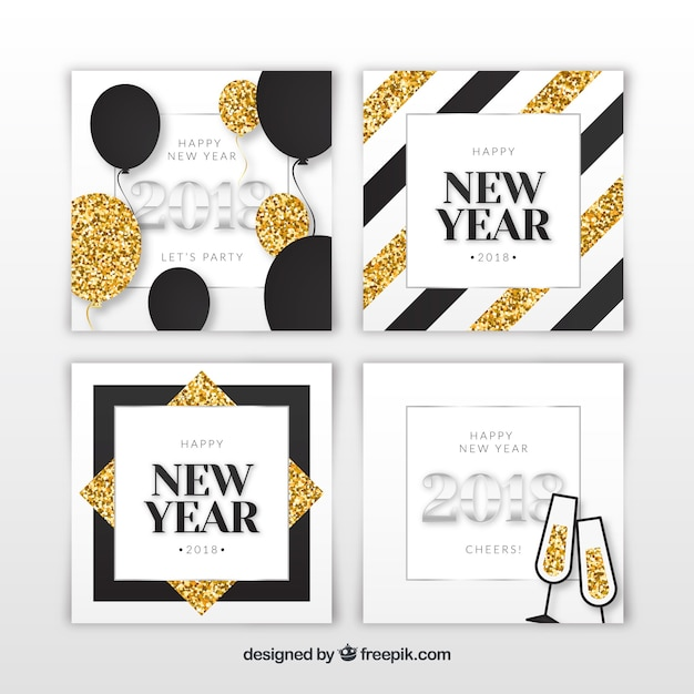 Silver and golden new year 2018 cards with glitter elements Vector ...
