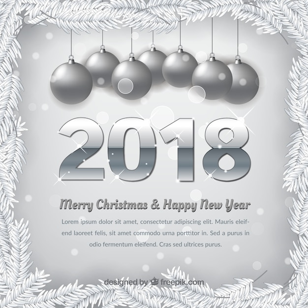 Silver Background Of Merry Christmas And New Year 2018 Free Vector