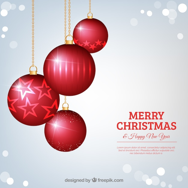 Silver background with christmas red balls Free Vector
