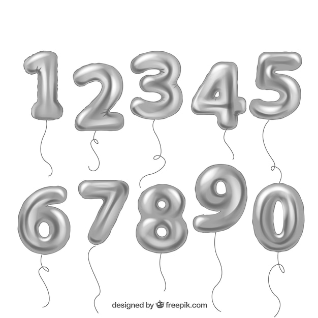 Silver balloon number collection Free Vector