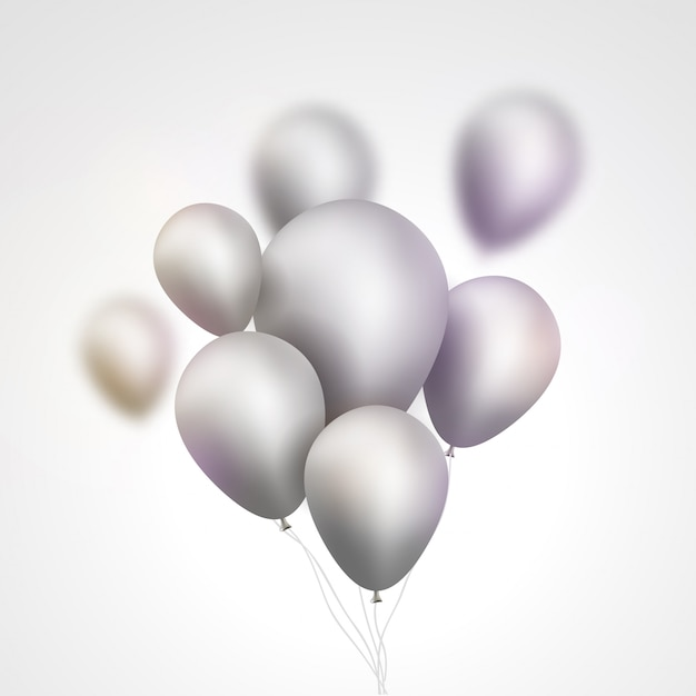 Silver balloons bunch illustration Premium Vector