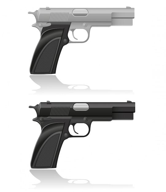 Silver and black automatic pistol vector illustration Premium Vector