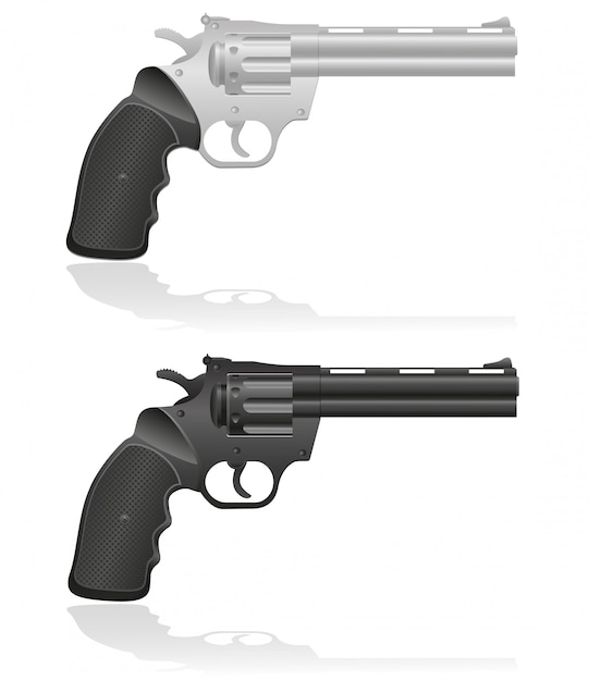 Silver and black revolvers vector illustration Premium Vector