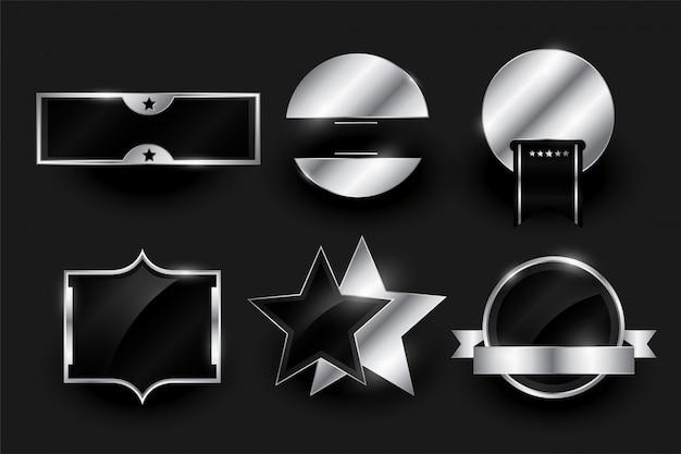 실버 빈 배지 또는 레이블 디자인 컬렉션 무료 벡터