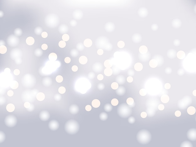 Silver bokeh background. holiday glowing silver lights with sparkles. festive defocused lights. blurred bright abstract bokeh on light background. Premium Vector