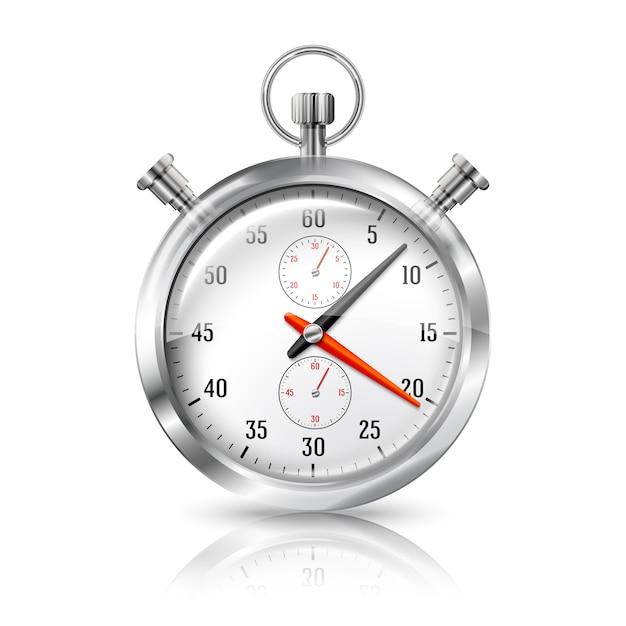 Серебряные яркие часы секундомера с отражением, изолированные на белом фоне. Premium векторы
