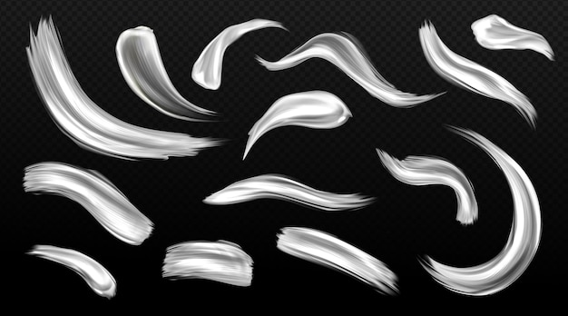 Серебряные мазки кисти, мазки металлической краски, серые или белые пятна металлической текстуры Бесплатные векторы
