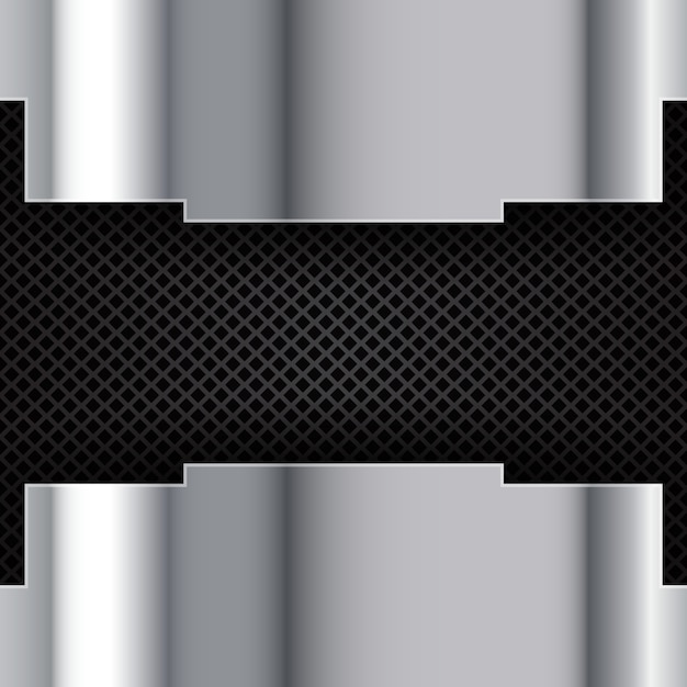 Silver brushed metal on a perforated background Free Vector