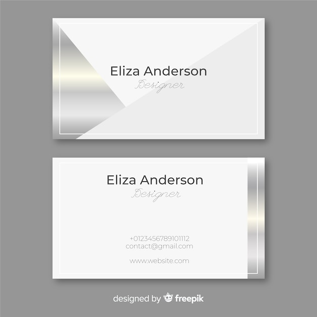 Silver business card Free Vector